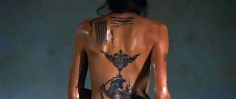 angelina jolie tattoo on her leg angelina jolie tattoos in wanted movie google search