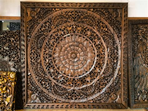 large carved wood panel teak wood wall hanging by siamsawadee