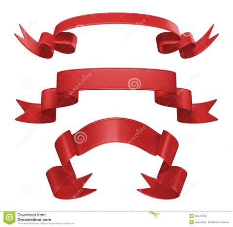 3d red ribbon tag set design element stock photo image