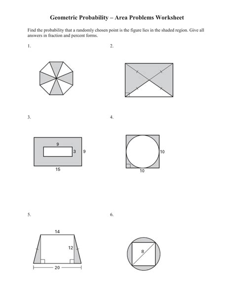 area problems geometric probability worksheet worksheets