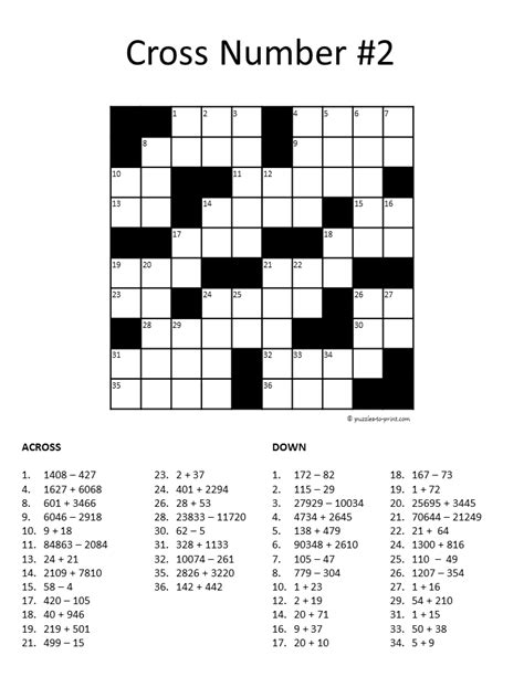 printable algebra puzzle number crossword puzzle 2