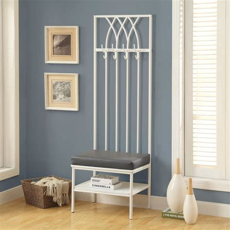 white entryway mini hall tree coat rack stand home