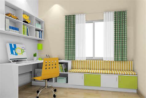 Children bedroom design model curtains and short cabinet interior design
