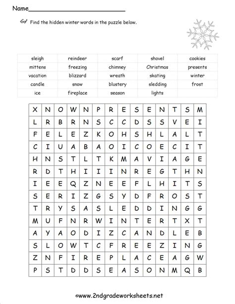 wordsearch for grade 2 printable christmas worksheets and printouts