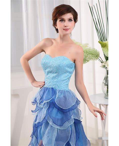 dress with beading a line sweetheart asymmetrical tulle prom dress with