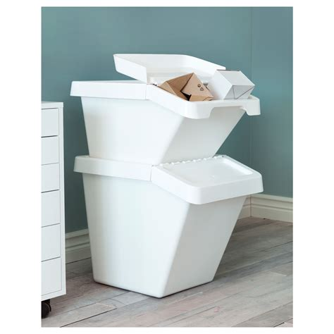 ikea storage bins sortera waste sorting bin with lid white 60 l ikea