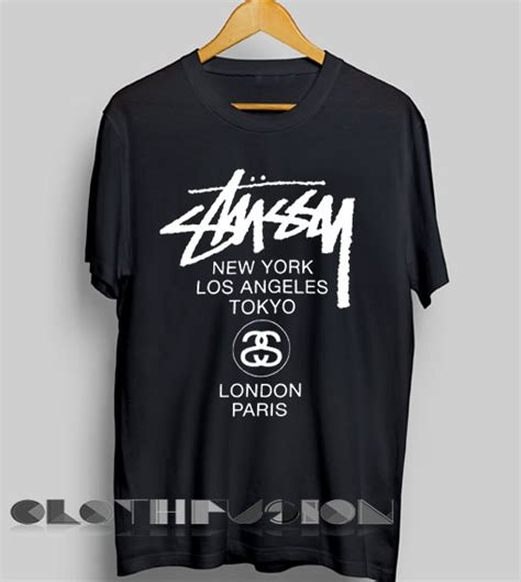 T Shirt Stussy Knowledge Black Premium unisex premium stussy logo t shirt design clothfusion