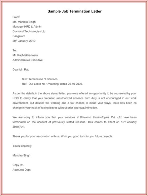 termination letter format for absence employment termination letter sle due to unauthorized