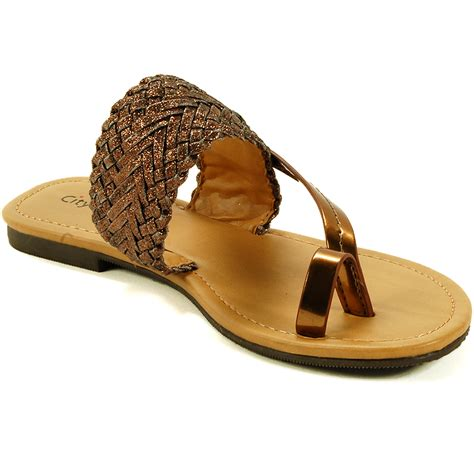 sandals with toe loop womens slip on sandals strappy metallic flip flops t