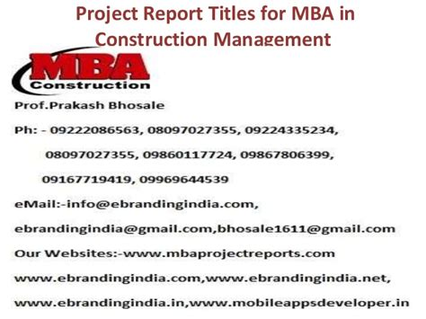 How To Make A Project Report For Mba by Project Report Titles For Mba In Construction Management