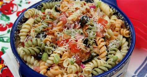pasta salad with rotini deep south dish tri color italian rotini pasta salad