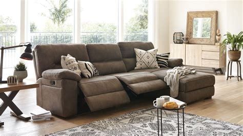 3 seater sofa with chaise jenson 3 seater fabric recliner sofa with chaise by