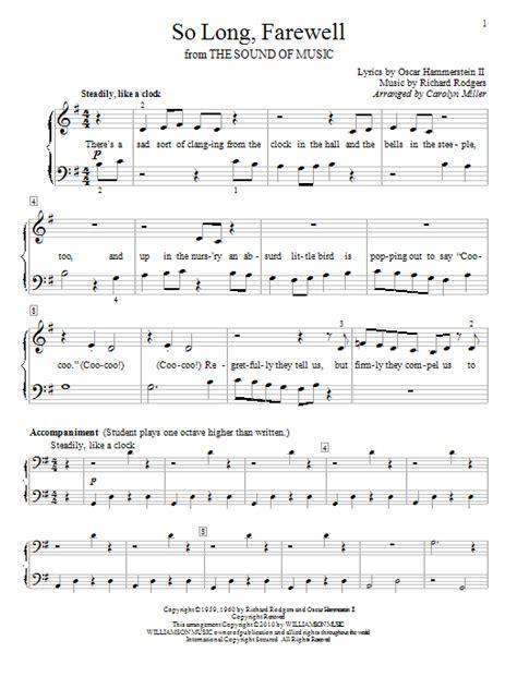 printable lyrics sound of music so long farewell sheet music direct