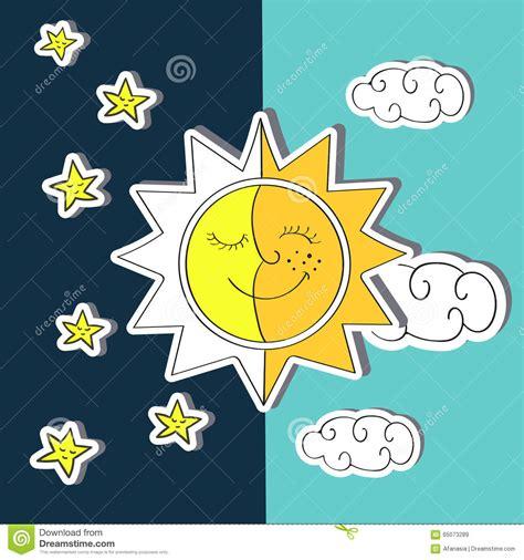 sol y la luna nubes estrellas vector de stock 169 son d 237 a y noche ejemplo del vector del garabato del sol luna