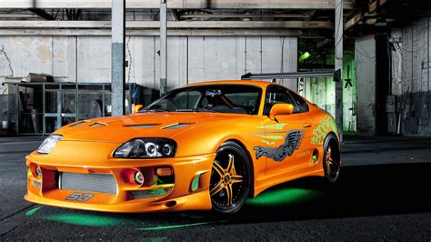 bright orange cars vehicles tuning toyota supra green neon the fast and the