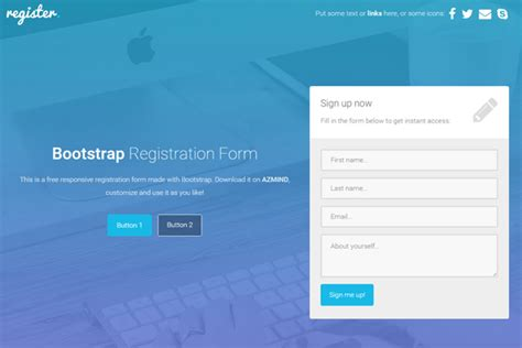 bootstrap newsletter template application form registration form template bootstrap
