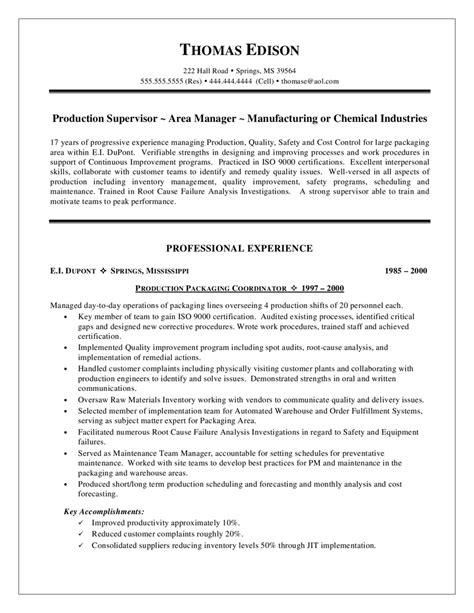Resume Questions by Supervisor Resumes Production Resume Sle Questions Warehouse Exle Production