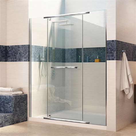 Acrylic Shower Door Dreamline Vitreo X 32 In X 60 In X 74 75 In Semi Framed Pivot Shower Door In Chrome With