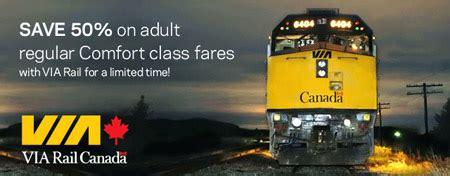 Via Rail Gift Card - via rail canada 50 off regular comfort class fares using spc card canadian