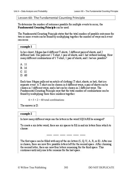 The Fundamental Counting Principle Worksheet by Fundamental Counting Principle Worksheet Worksheets