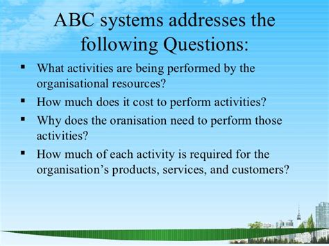 How Much Does It Cost For An Mba by Activity Based Costing Ppt Mba Finace
