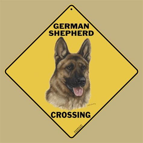 sarah j home decor german shepherd dog crossing road sign from sarah j home