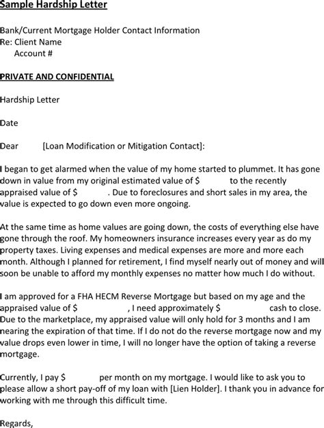 Mortgage Loan Letter Format Free Sle Hardship Letter For Loan Modification The Best Resume