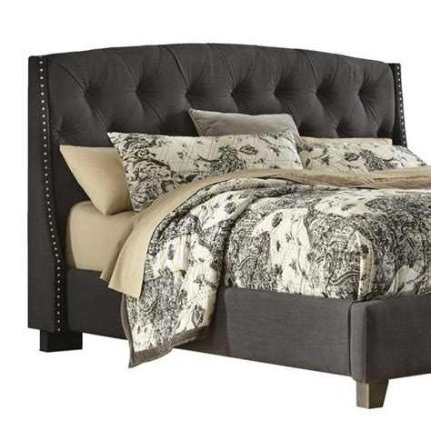 grey tufted headboard queen ashley kasidon fabric upholstered queen tufted headboard