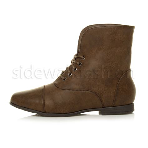 Low Heel Lace Up Ankle Boots womens low heel flat lace up fold cuff vintage