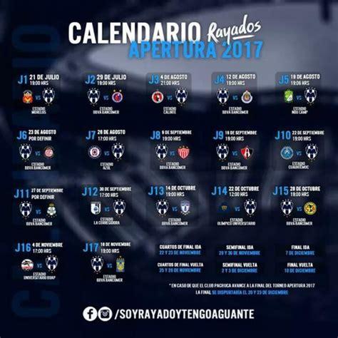 Calendario Liga Mx Monterrey Calendario De Rayados Dentro Apertura 2017 Vavel