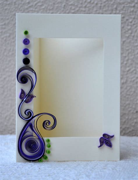 How To Make Photo Frame With Handmade Paper - quilled card paper quilling quilled photo frame blank card