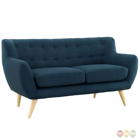 upholstered loveseat remark modern upholstered loveseat with button accents azure