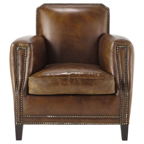 Brown Leather Armchair by Leather Armchair In Brown Drouot Maisons Du Monde