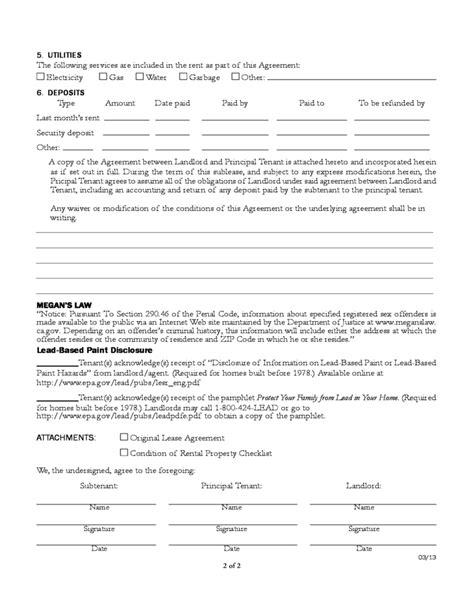sublease agreement template california sublease agreement template california 28 images