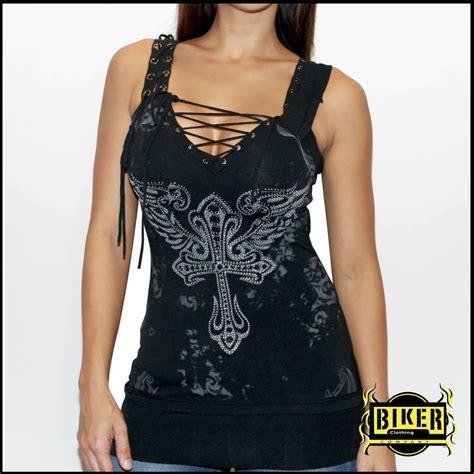 biker apparel corset silver stone fashion tank top in black biker