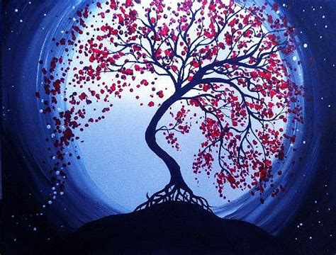 paint nite japanese cherry blossoms paint nite blue moon cherry blossoms