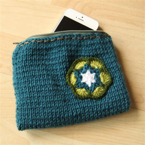 knitted zippered pouch pattern knitted zippered and lined pouch with a crochet flower