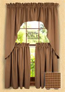 Country Swag Curtains Cottage Brown Minicheck Window Curtain Swags