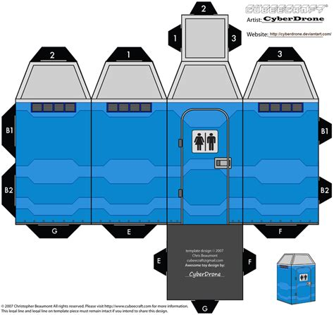 Cubee Papercraft - cubee port a loo by cyberdrone on deviantart