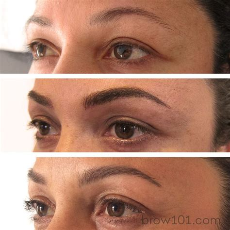 Before After And Healed Micro Blade Eyebrow Tattoo These