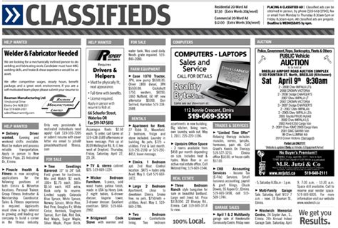 Classified Section Of Newspaper by Classified Ads