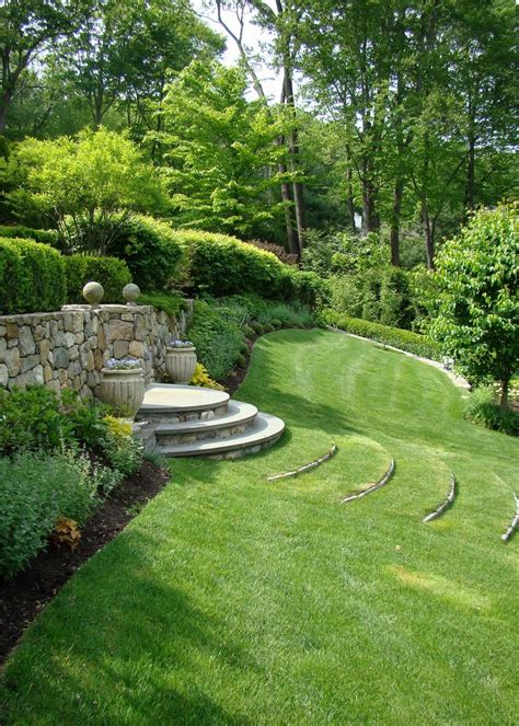 reader photo curved terrace stairs tame a slope fine gardening
