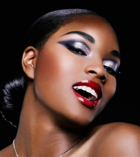 dark red lipstick for black women purple silver eyes and bright red lips make up