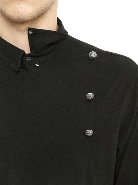 Breasted Shirt lyst balmain breasted cotton jersey shirt in