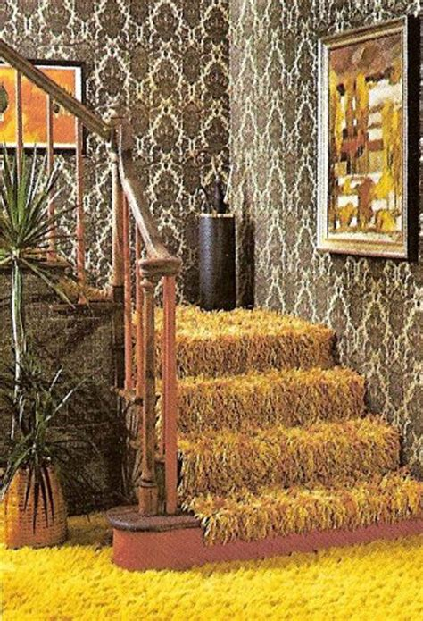 shag pile rug 70s interior extensive repeat pattern design on wallpaper and iconic shag pile carpet 70 s
