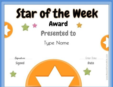 printable star of the week form star of the week
