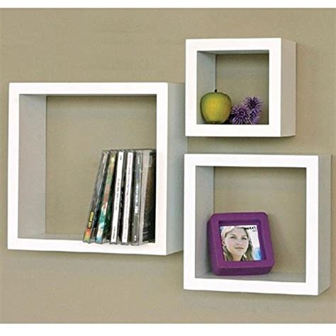 Racks Floating Shelves Square Cube Wall Shelf Set 3 Pieces Square Floating Shelves