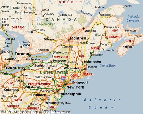 map of eastern usa and canada looking toward portugal into the heartland