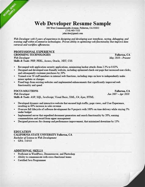 Resume Sles For Experienced Net Developer Web Developer Resume Sle Writing Tips Rg