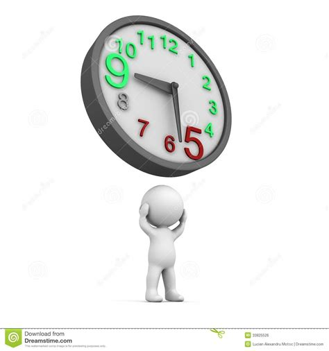 Heads For Time by 3d Overtime Clock Stock Illustration Illustration Of